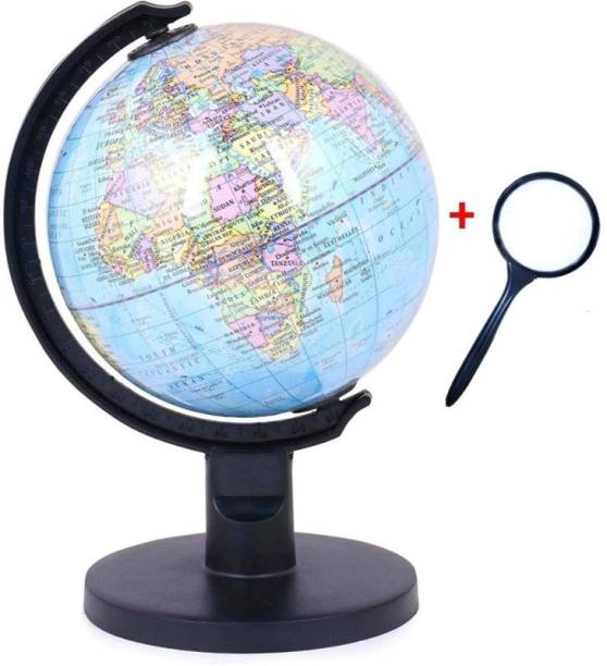 GeoKraft Educational Political 5 Inch Diameter Small Globe with Plastic Arc and Base with Lens Desk & Table Top Political World Globe
