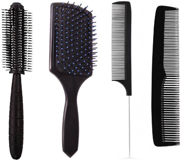 E-DUNIA Best Hair Brush Combo of Black Carbon Rat Tail comb With Steel handle, Round Hair Comb, Paddle Hair Brush with Soft Nylon Bristles & Simple Normal use Brush for Women and Men