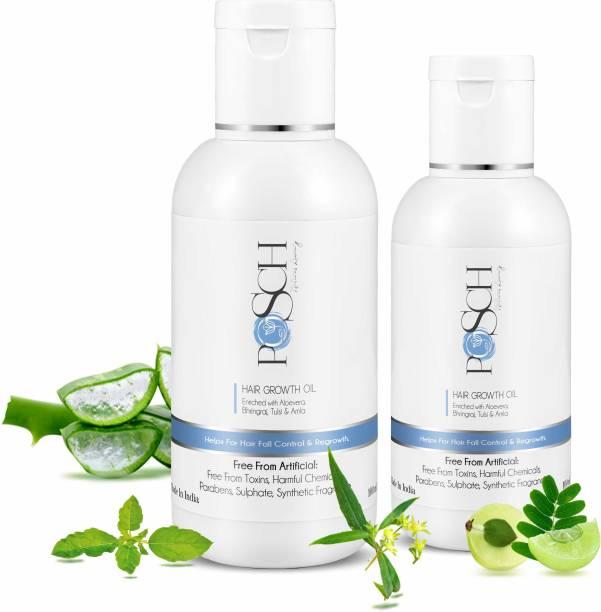 Posch Hair Growth Oil With Aloe Vera, Bhringraj, Tulsi, & Amla Bottle Combo Hair Oil