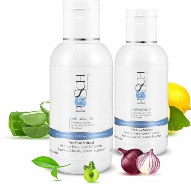 Posch Anti Hairfall Onion Oil Enriched with Neem, Aloe Vera, Amla, Brahmi, Green Tea & Lemon Bottle Combo-100mlx2 Hair Oil