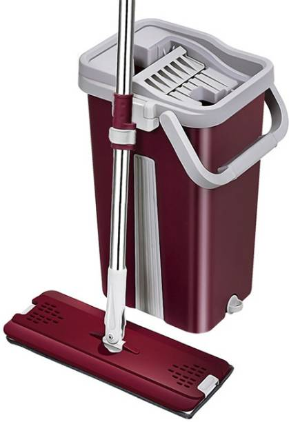 Upkaranwale Upkaranwale Fuchsia Flat Mop and Bucket set Mop Floor Cleaning System - Washble Pads With 2 soft Refill Pads & handle Mop, Bucket