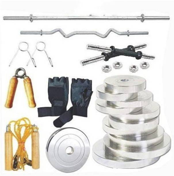RIO PORT 18 kg STEEL HOME GYM COMBO 18KG(2KGX4,2.5KGX4) Chrome Weight Set,3Ft Curl Rod, 5Ft Straight Rod ,1 Pair Dumbbell Rods. Set Includes Best Chrome Plates With Steel Rods.Dumbbell rods are of Steel materials with Steel nuts. This set is best for all regular gym lovers. Home Gym Combo