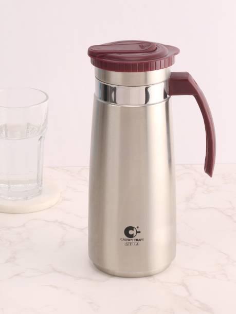 CROWN CRAFT 1.3 L Water Premium Stainless Steel Pitcher/Jug With Lid For Water Juice & Beverage Carage Jug