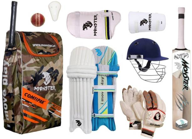 Monster CAMOFALAGE CRICKET SET OF 4 NO ( IDEAL FOR 8-10 YEARS ) COMPLETE Cricket Kit