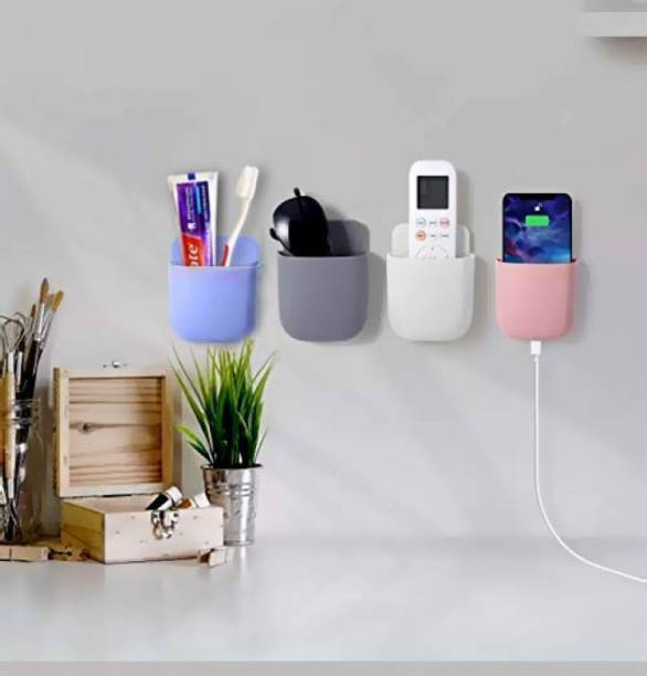 SHIVALAY Wall Mounted Storage Case for Remote, Mobile Holder/Multi Purpose Stand/Charging Stand/Drilling Free Stand/Remote & Pen Holder (4 pic Set) Mobile Holder