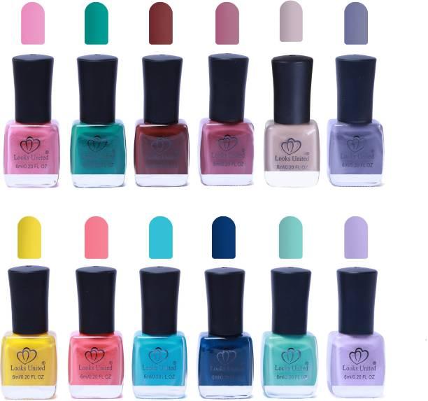 Looks United 12 Trendy Colors Nail Polish Multicolor