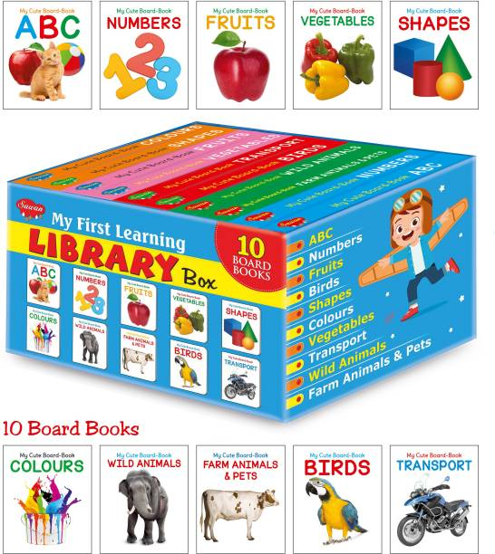 My First Picture Library Box Of 10 Board Books (Pre-School Books) | Gift Set For Kids