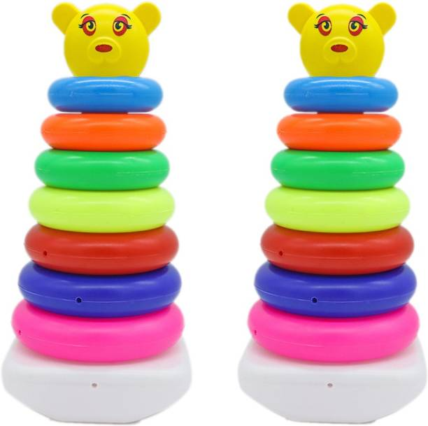 HighRoof Combo Pack of 2 Smiley littles junior ring Stacking Colouring Teddy Rings for Kids 7 pcs Multi Color, Stacking Toy 7 Combo - malticolor