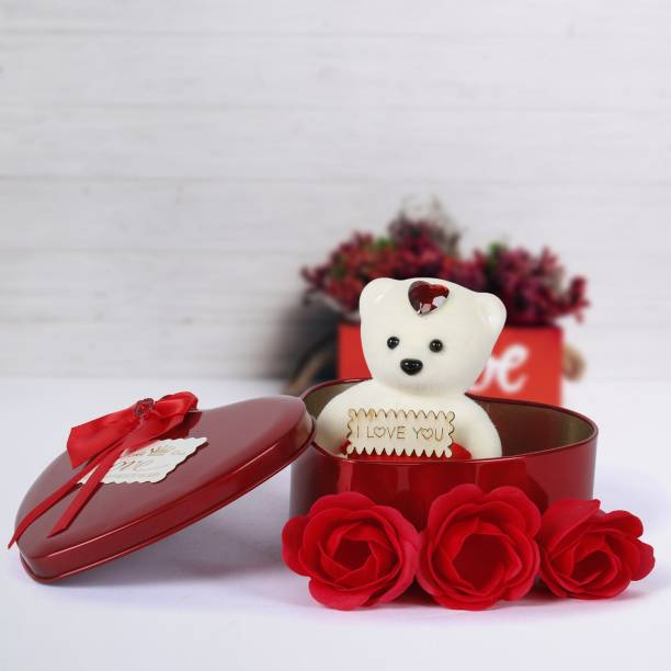 Ziraat Heart Box With Artificial Flower Gift Set  - 30 cm