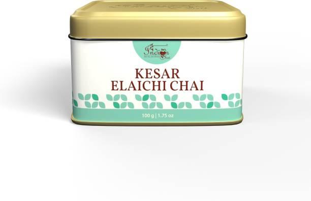 The Indian Chai Kesar Elaichi Chai with Red Saffron and Cardamom for Depression and Stress Saffron Masala Tea Tin