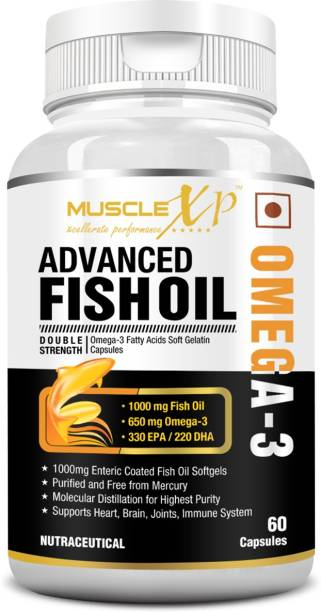 MUSCLEXp Advanced Fish Oil Double Strength Omega-3 60 Enteric Coated Softgels