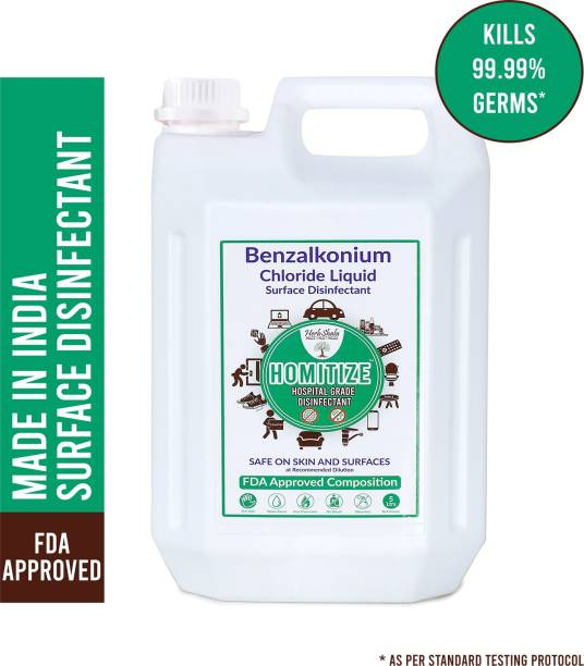HerbShala Homitize - Kills Virus- Multipurpose Surface Disinfectant For Hospital, Home & Office - 200X Concentrate - Safe On Skin - Use it as Surface Disinfectant/ Multi-Purpose Disinfectant - FDA Approved - [Made In India] - 5 Ltr - Pack of 1