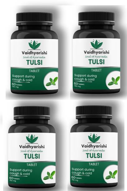 VAIDHYARISHI TULSI SUPPORT DURING COUGH & COLD ( 60 TAB EACH 750 MG ) PACK OF 4