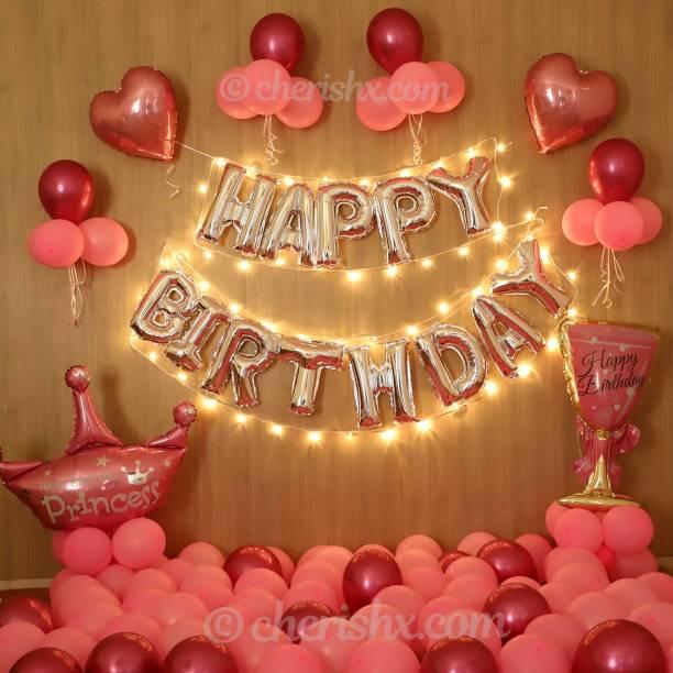 CherishX.com Solid Pink and Silver Happy Birthday Balloon Decoration Kit - DIY Combo 57 Pcs - Pink Heart Shape Foil Balloon, Princess Foil Balloon, Champagne Foil Balloon, Pink Balloons, Balloon Pump Letter Balloon