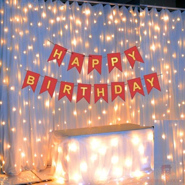 Bubble Trouble Red Happy Birthday Banner With Fairy Light Combo (Set of 2) For Birthday Decoration for Boys, Girls, Boyfriend, Girlfriend, Husband,Kids Bday Celebrations,Bunting Tags,Flag Decorative Items Banner Banner