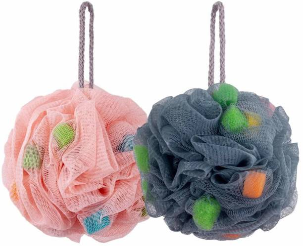 UP16 Bath Loofahs Shower Sponge Balls with Easy Foaming Sponge grains, Mesh Pouf Body Scrubber Exfoliator (PACK OF 2)