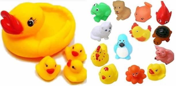 Enorme Squeeze Chu Chu 4 Pcs Duck Family Bath Toy with 12 Pcs Chu Chu Animal Toys Bath Toy