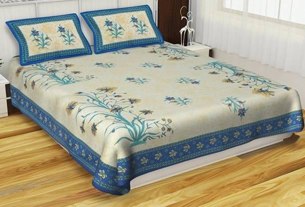 ABHISHEK FASHION 104 TC Cotton Double Floral Bedsheet