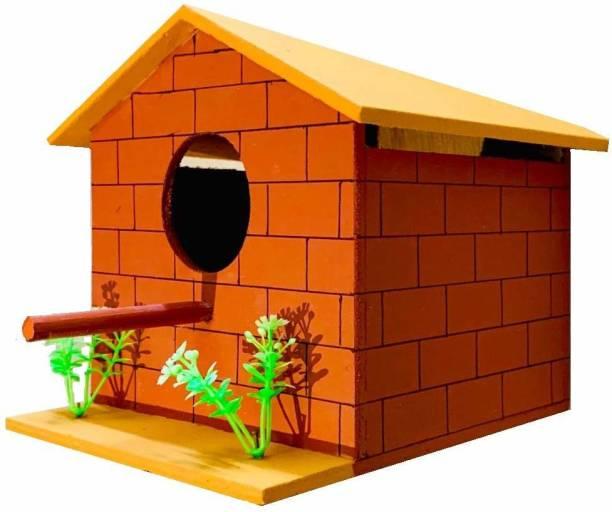 OrchidWala Natural Brick House - Wooden Bird Nest House Bird House
