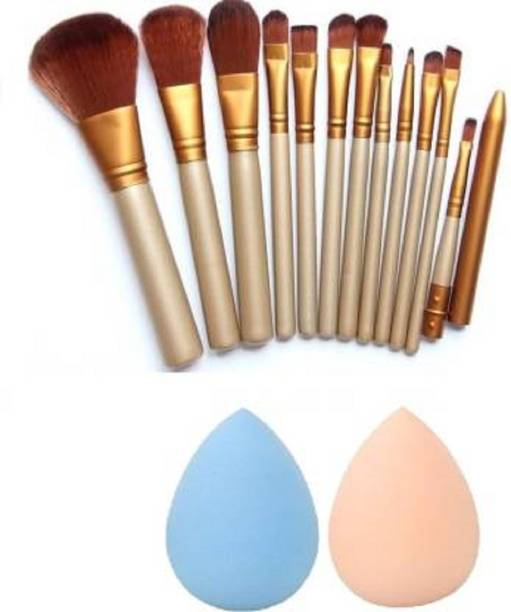 FEGURO Make-up Brushes Set of 12 Piece Brush + 2 Blender Puff