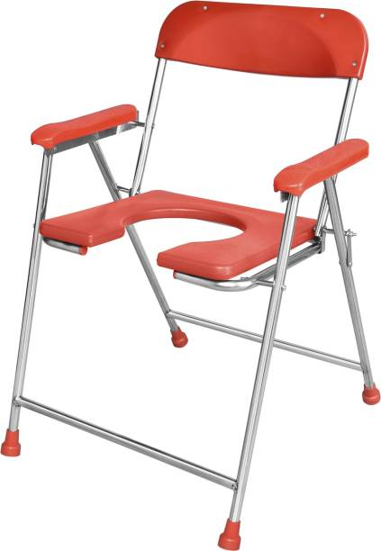 NEOSAFE stainless Steel Commode Chair With Pure Virgin Fiber seat Commode Chair ( Red ) Commode Chair