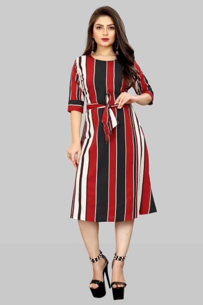 Modli 20 Fashion Women A-line Red, Black Dress