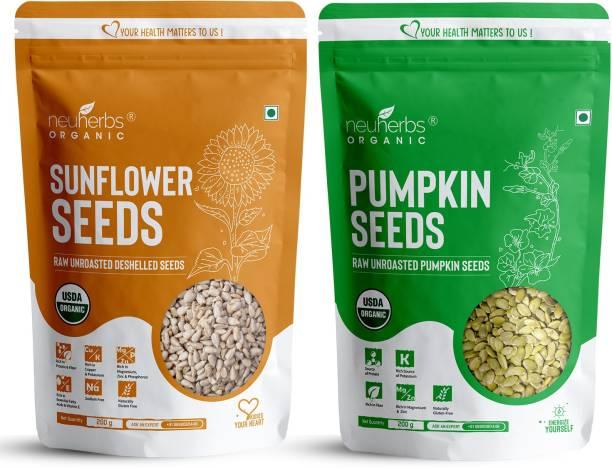 Neuherbs Organic Sunflower & Pumpkin Seeds Combo for Healthy heart, Restful sleep, Boosted energy and Weight managemen?t- (Sunflower seeds 200g + Pumpkin seeds 200g)