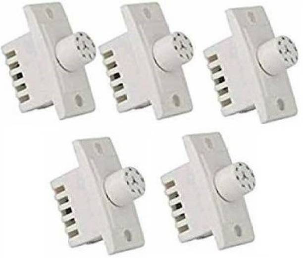 United Homes Polycarbonate Switch 7 Step Type Fan Regulators (White) -5 Pieces Step-Type Button Regulator