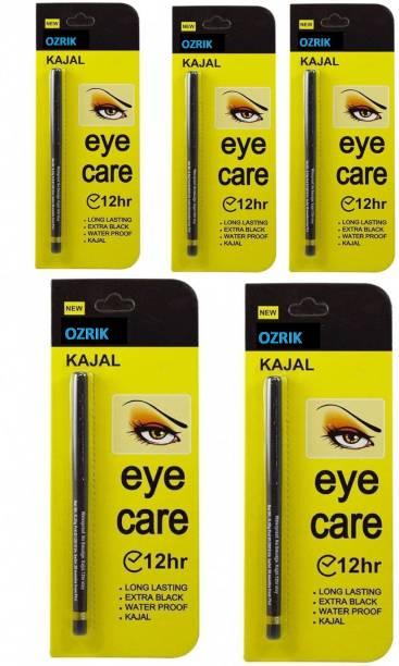 ozrik Kajal Waterproof Long-Lasting Pack Of 5 (0.35 gm Each)