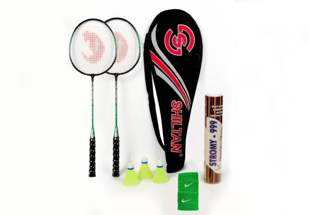 Shiltan Combo-4 Pair of Badminton Racquets with 10pcs Nylon Shuttlecocks, Wrist Band & Half Covers Badminton Kit
