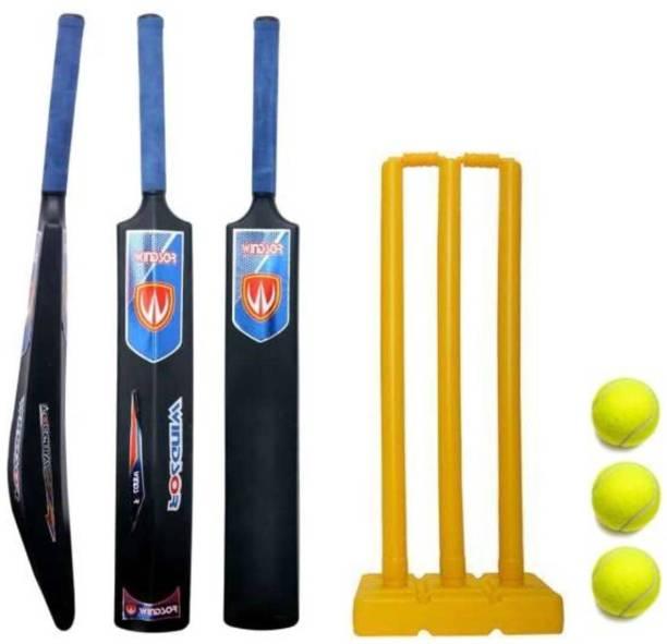 Windsor AB Plastic Bat ,1 Plastic Bat Size , Plastic Bat With 3 Stumps and 3 Tennis Ball, Cricket Kit Cricket Kit
