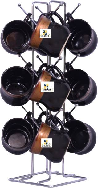 Shopme Store CR18 COLLECTION Big Size Kitchens Stainless Steel V Shape Cup Stand Pieces Coffee & Tea Mug Holder | 12 Hooks for Cups & Mugs (Color: Silver,12 Cups Stand) Cup Kitchen Rack