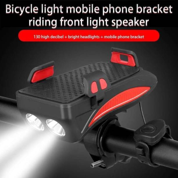Schrodinger USB Rechargeable Bicycle Headlight, 4 in 1 Waterproof Front Light with Horn Bell LED Front Light