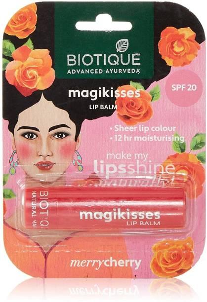 BIOTIQUE Natural Makeup Magikisses Lip Balm, Merry Cherry, 4g Cherry