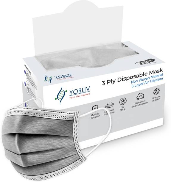 YORLIV 3 Ply Protective Mask With NOSE PIN, Unbreakable Ear loops (Ultrasonically Welded) & Ultra Soft Ear loops (which does not hurt ears) (BOX SEALED PACKING) Disposable 3 Layer Pharmaceutical Breathable Surgical Pollution Face Mask Respirator with 3 Ply For Men, Women, Kids 3 Layer Pharmaceutical 3 Ply Mask Surgical Mask