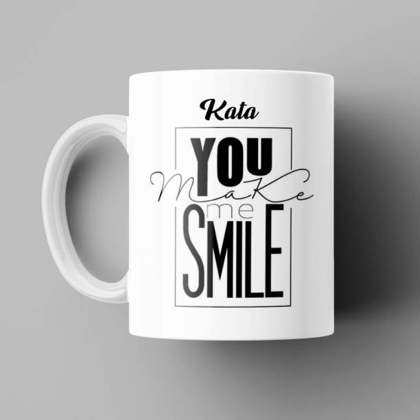 Beautum You make me Smile Kata Printed White Ceramic Coffee (350)ml, Best Gift for boys, girls, husbands, wives, fiance, fiancee, loved ones, girlfirend, boyfriend, Mom, dad, Grandpa, grandma, grand mother, grand father, mumma papa and Everyone. Ceramic Coffee Mug