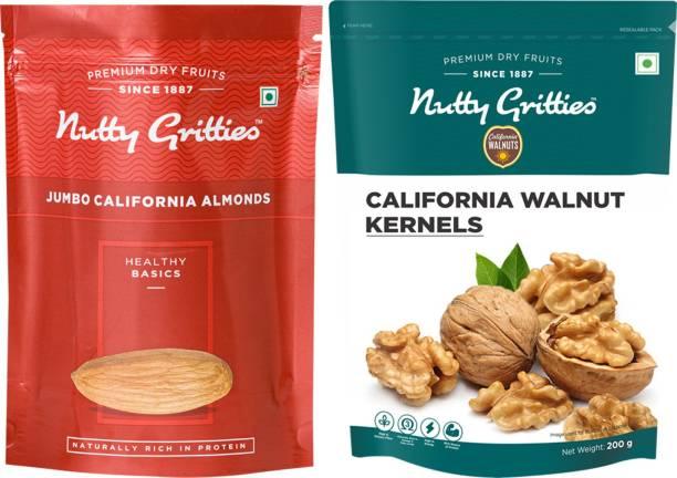 Nutty Gritties Jumbo California Almonds and Walnut Kernels Combo(200 GMS each) Walnuts, Almonds