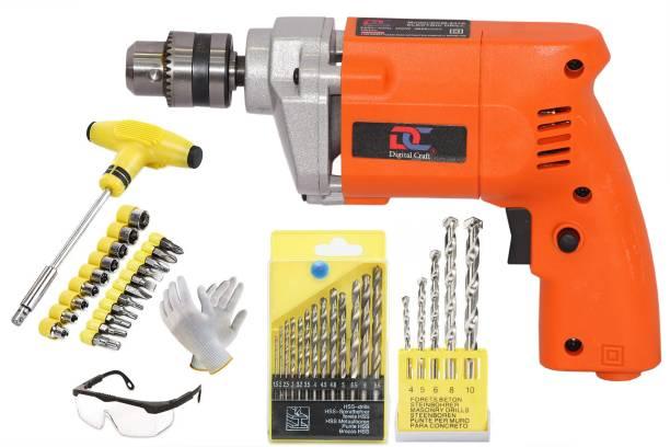 Digital Craft Powerful Yuri Electric Drill Y110A 10Mm Drill Machine +13Pcs Hss Drill Set For Wood,Metal,Plastic & 5Pcs Masonary Drill Set For Wall,Concretes (Orange) Pistol Grip Drill