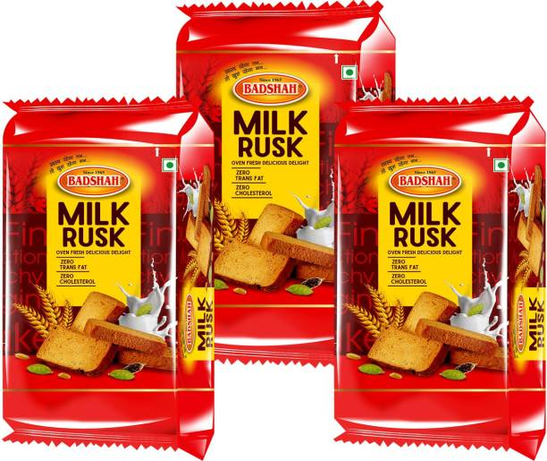 BADSHAH MILK RUSK BADSHAH MILK RUSK_Elaichi flavour - Pack of 3 -300gm each MILK flavor flavored Milk Rusk
