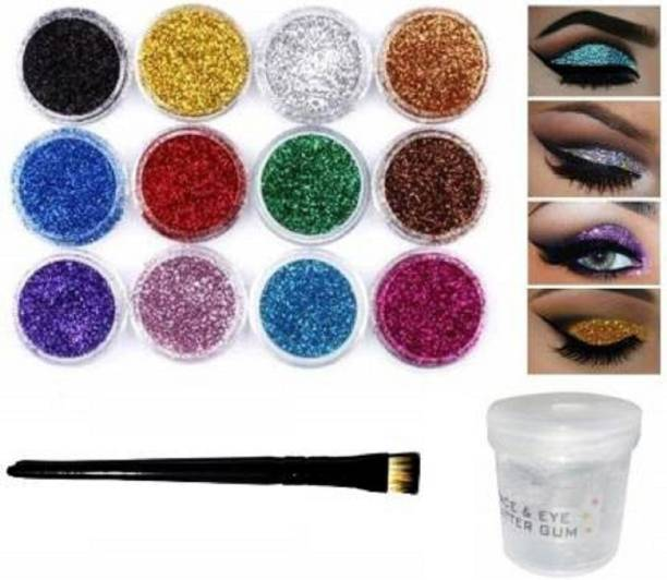ShopCircuit Multi Colors Eye Dry Thick Shimmer Glitters - Pack Of 12 Pcs with Eye Glue/Gum & Eyeshadow Brush