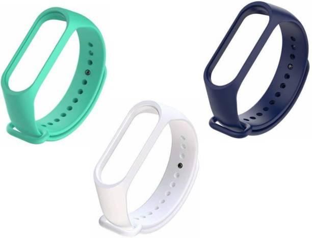 TECHWIND Soft Silicon Mi Band 3/4 Watch Strap Combo {CYAN WHITE NAVY BLUE} Smart Band Strap