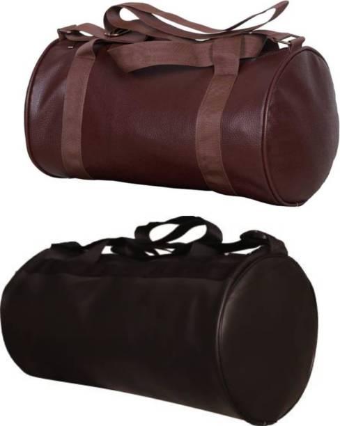 EMMKITZ Combo Gym Bag for Men & Women (Black/Brown)