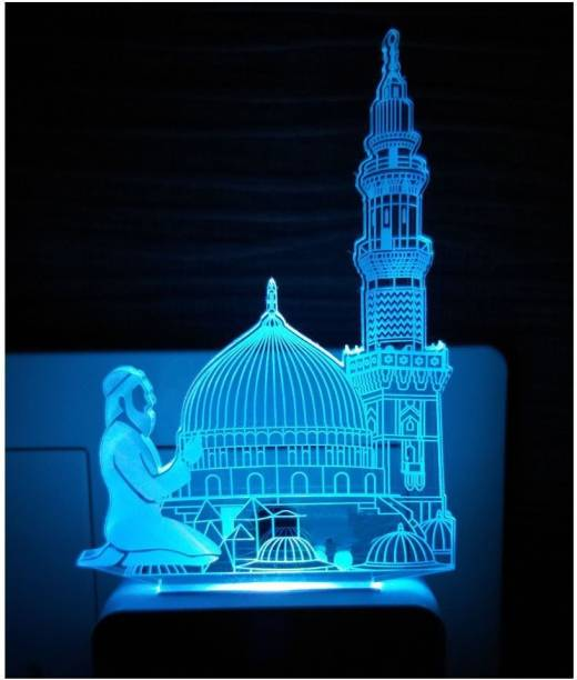 NL Traders Makka Madina 3D Illusion LED Night Lamp For Home&Temple Decorative, decoration Lighting gifts for Senior citizen,family,friends - 7Multicolour light (Small Size-10cm) ANL-42.201 Night Lamp Night Lamp