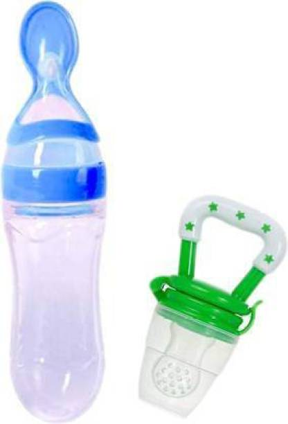 Vadhavan Infant Squeezy Food Grade Silicone Bottle Feeder & Silicone Food Fruit Pacifier/Nibbler/Soother for Babies/Kids/Children (Squeezy Feeder 'Blue' + Pacifier 'Green'') (Pack of 2) - Silicone (Blue & Green)