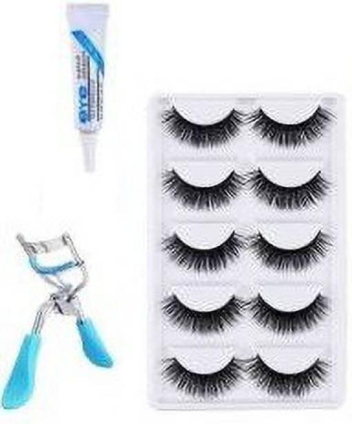 ClubComfort Eyelashes Set of 5, Eyelashes Glue & Eyelash Curler (set of 7 itmes)