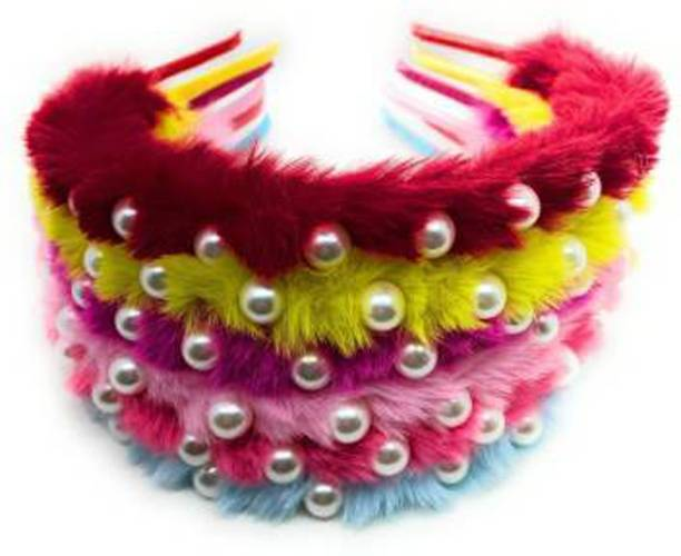 namohh enterprisses Pearl Studded Premium quality soft fur Hair Band for Babies and Kids 6 pcs Head Band