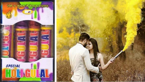 VR Creatives Set of 4 pieces Holi Rainbow Smoke Fog Air Color Gulal Party Celebration Holi Color / colors H - 12 CM Holi Color Powder Pack of 4