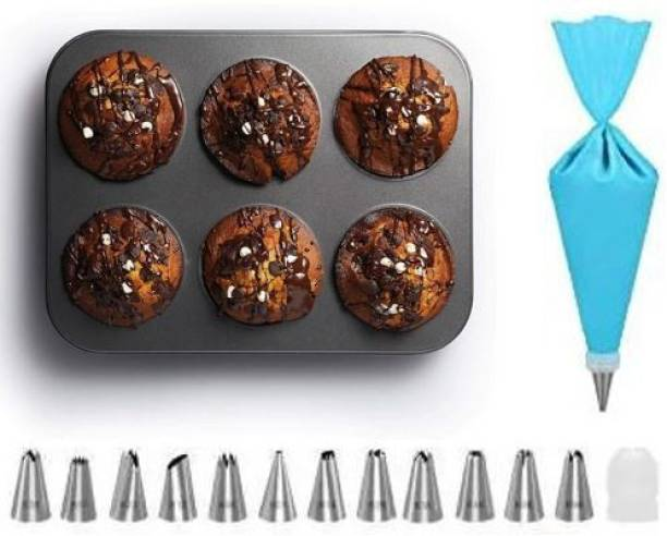 ALAMDAAR Cake Combo Non Stick Muffin Tray 6 Cups with 12 Piece of Cake Decoration Nozzles with Icing Bag Cake Decorating Tools Kitchen Tool Set