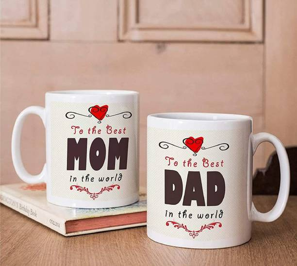 """V Kraft """" best gift for mom dad """" anniversary, birthday, mother's day, father's day and any other occasion couple matching mug set love quote printed Ceramic love with Handle-Perfect Gift to Anyone On Any Occasion 