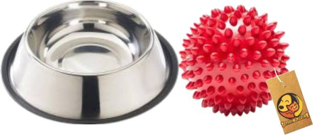 FOODIE PUPPIES Multi Utility Combo Kit for Dogs/Pets (450ml Stainless Steel Feeding Plain Bowl + Spike Dental Chew Toy) Rubber Chew Toy For Dog